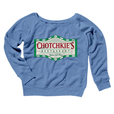 Chotchkie's Restaurant Women's Off The Shoulder Sweatshirt-Blue TriBlend - Famous IRL