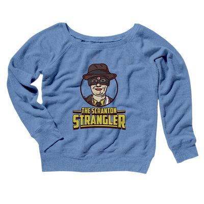 The Scranton Strangler Women's Off The Shoulder Sweatshirt-Blue TriBlend - Famous IRL