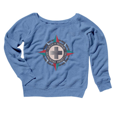 Grey-Sloan Hospital Women's Scoopneck Sweatshirt-Women's Off The Shoulder Sweatshirt-White Label DTG-Blue TriBlend-S-Famous IRL