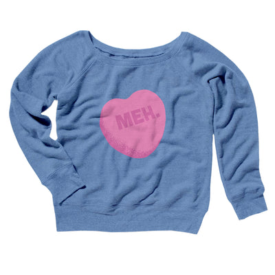 Meh. Candy Heart Women's Off The Shoulder Sweatshirt-Blue TriBlend - Famous IRL