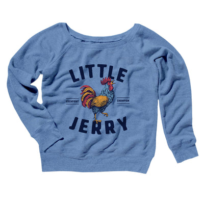 Little Jerry Women's Off The Shoulder Sweatshirt-Blue TriBlend - Famous IRL