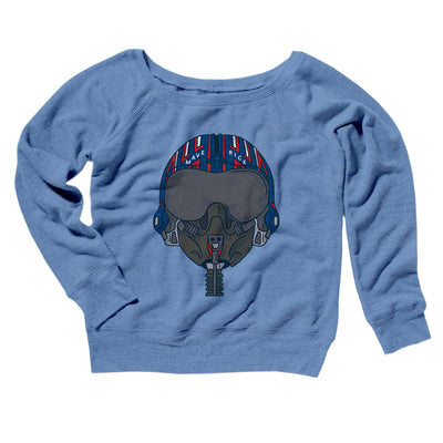 Maverick Helmet Women's Off The Shoulder Sweatshirt-Blue TriBlend - Famous IRL