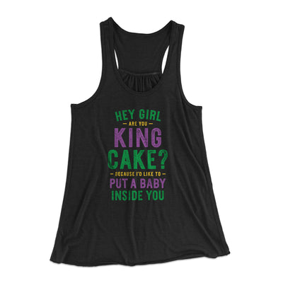 Are You King Cake? Women's Flowey Tank-Black - Famous IRL
