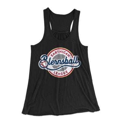 Earthican Blernsball League Women's Flowey Racerback Tank Top-Black - Famous IRL