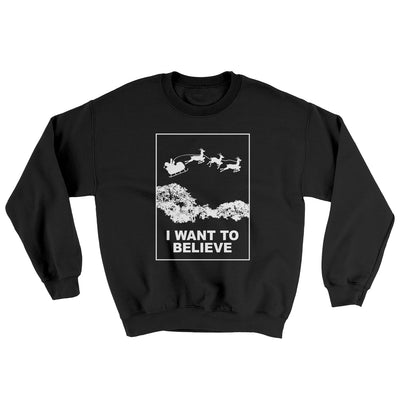 I Want to Believe Men/Unisex Ugly Sweater-Black - Famous IRL