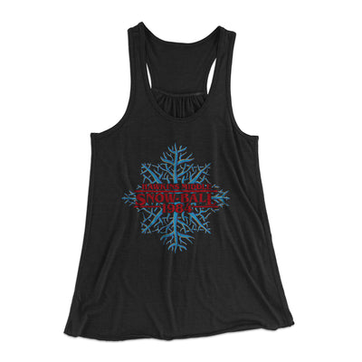 Hawkins Middle Snow Ball Women's Flowey Racerback Tank Top-Black - Famous IRL