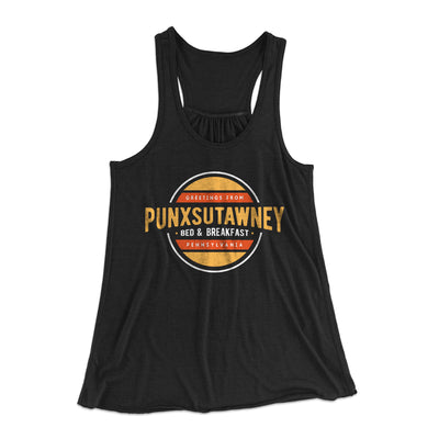 Punxsutawney Bed and Breakfast Women's Flowey Racerback Tank Top-Black - Famous IRL