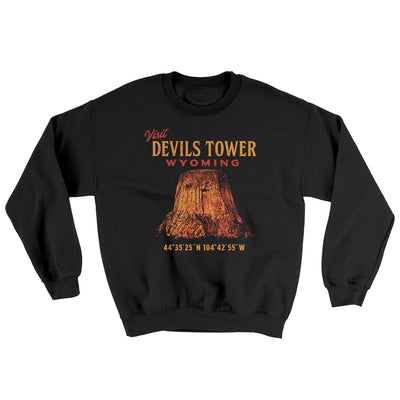 Visit Devils Tower Ugly Sweater-Sweatshirt-Printify-Black-L-Famous IRL