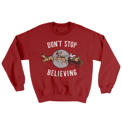 Don't Stop Believing Men/Unisex Ugly Sweater-Cardinal Red - Famous IRL