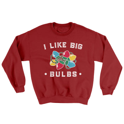 I Like Big Bulbs Men/Unisex Ugly Sweater-Cardinal Red - Famous IRL