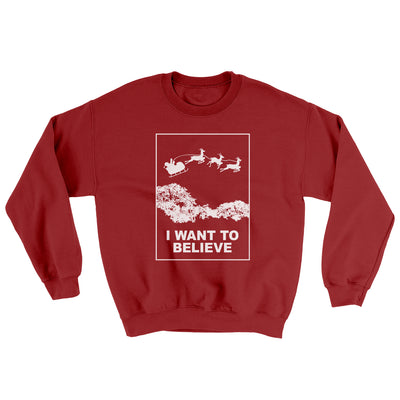 I Want to Believe Men/Unisex Ugly Sweater-Cardinal Red - Famous IRL
