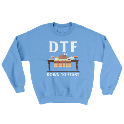 DTF: Down To Feast Ugly Sweater-Ugly Sweater-White Label DTG-Carolina Blue-S-Famous IRL