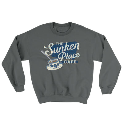 The Sunken Place Cafe Ugly Sweater-Sweatshirt-Printify-Charcoal-S-Famous IRL