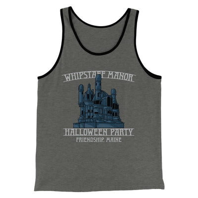 Whipstaff Manor Halloween Party Men/Unisex Tank-Tank Top-Printify-Deep Heather/Black-S-Famous IRL