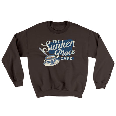 The Sunken Place Cafe Ugly Sweater-Sweatshirt-Printify-Dark Chocolate-S-Famous IRL