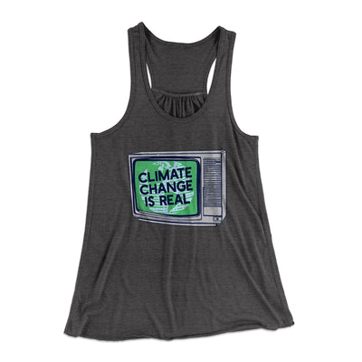 PSA: Climate Change is Real Women's Flowey Racerback Tank Top-Dark Grey Heather - Famous IRL