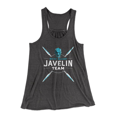 White Walker Javelin Team Women's Flowey Racerback Tank Top-Dark Grey Heather - Famous IRL