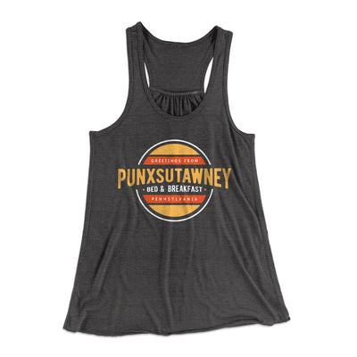 Punxsutawney Bed and Breakfast Women's Flowey Racerback Tank Top-Dark Grey Heather - Famous IRL