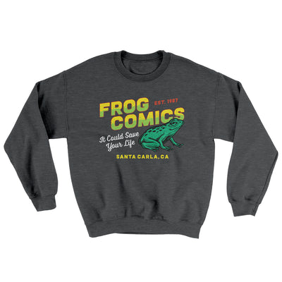 Frog Comics Ugly Sweater-Sweatshirt-Printify-Dark Heather-S-Famous IRL