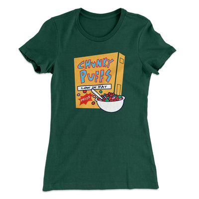 Chunky Puffs Cereal Women's T-Shirt-Solid Forest Green - Famous IRL