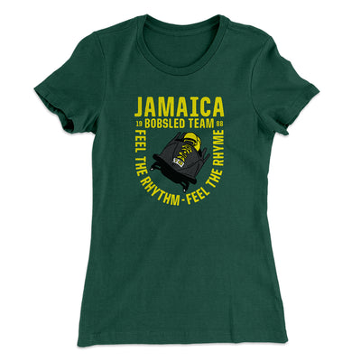 Jamaica Bobsled Team Women's T-Shirt-Solid Forest Green - Famous IRL