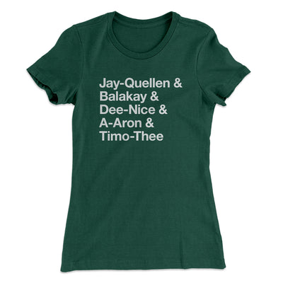Substitute Teacher Names Women's T-Shirt-Solid Forest Green - Famous IRL