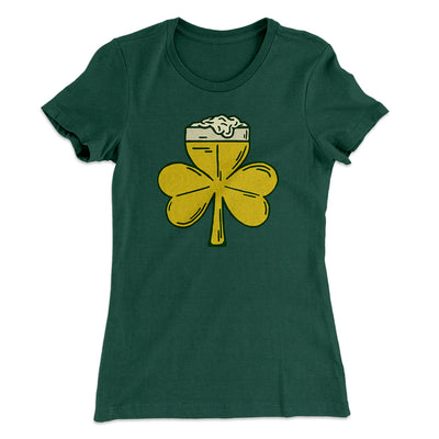 Beer Shamrock Women's T-Shirt-Solid Forest Green - Famous IRL