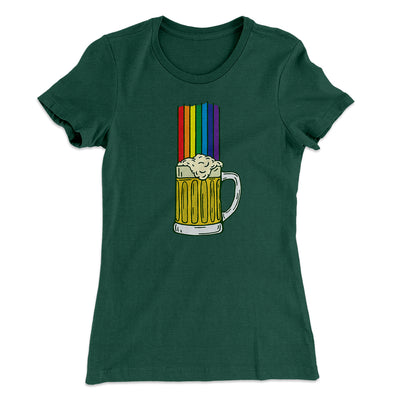 Beer Rainbow Women's T-Shirt-Women's T-Shirt-White Label DTG-Forest Green-S-Famous IRL