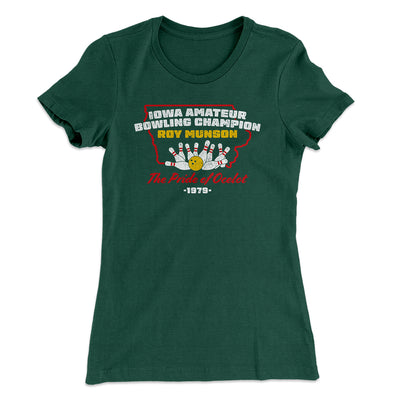 Iowa Amateur Bowling Champion Women's T-Shirt-T-Shirt-Printify-Solid Forest Green-S-Famous IRL