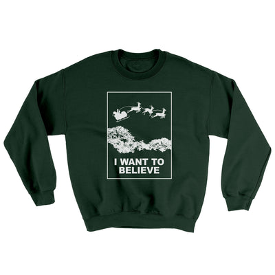 I Want to Believe Men/Unisex Ugly Sweater-Forest Green - Famous IRL