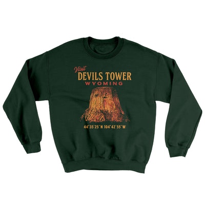Visit Devils Tower Ugly Sweater-Sweatshirt-Printify-Forest Green-S-Famous IRL
