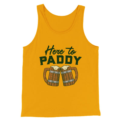 Here to Paddy Men/Unisex Tank-Gold - Famous IRL