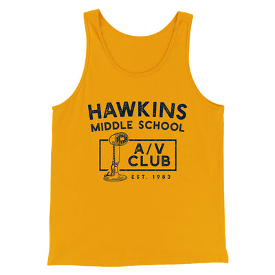 Hawkins Middle School A/V Club Men/Unisex Tank-Gold - Famous IRL