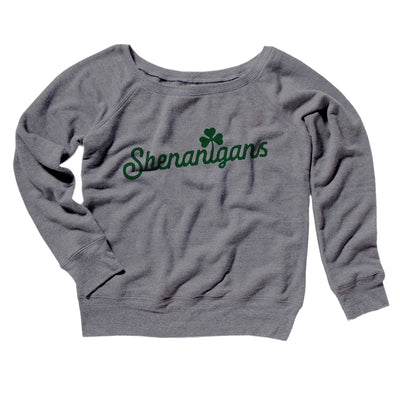 Shenanigans Women's Off The Shoulder Sweatshirt-Women's Off The Shoulder Sweatshirt-White Label DTG-Grey TriBlend-S-Famous IRL