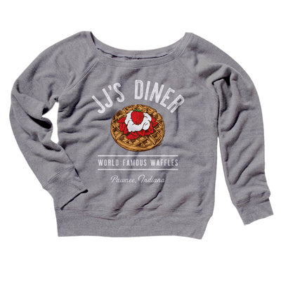 JJ's Diner Women's Off The Shoulder Sweatshirt-Grey TriBlend - Famous IRL
