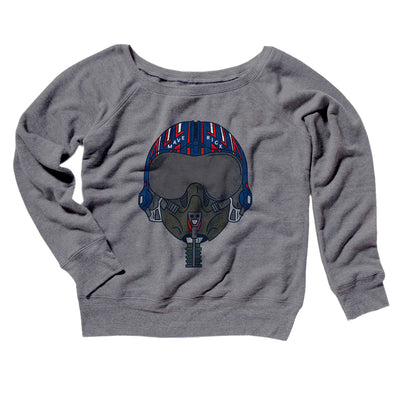 Maverick Helmet Women's Off The Shoulder Sweatshirt-Grey TriBlend - Famous IRL