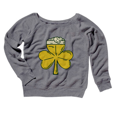 Beer Shamrock Women's Off The Shoulder Sweatshirt-Grey TriBlend - Famous IRL