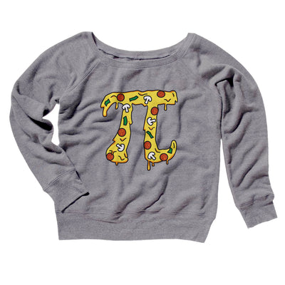 Pizza Pi Women's Off The Shoulder Sweatshirt-Grey TriBlend - Famous IRL