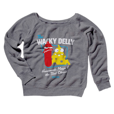 The Wacky Delly Women's Off The Shoulder Sweatshirt-Grey TriBlend - Famous IRL