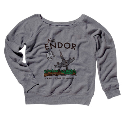 Visit Endor Women's Off The Shoulder Sweatshirt-Grey TriBlend - Famous IRL