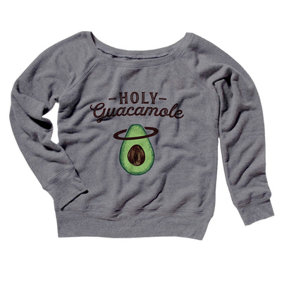 Holy Guacamole Women's Off The Shoulder Sweatshirt-Grey TriBlend - Famous IRL