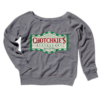 Chotchkie's Restaurant Women's Off The Shoulder Sweatshirt-Grey TriBlend - Famous IRL