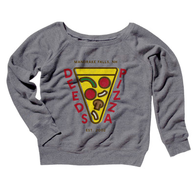 Deeds Pizza Women's Off The Shoulder Sweatshirt-Grey TriBlend - Famous IRL