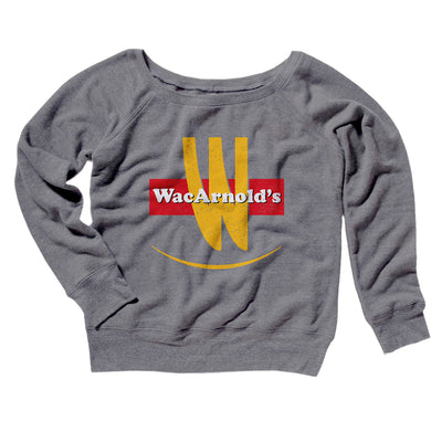 WacArnold's Women's Scoopneck Sweatshirt-Women's Off The Shoulder Sweatshirt-White Label DTG-Grey TriBlend-S-Famous IRL