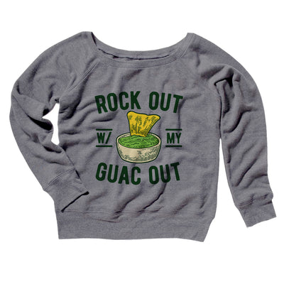 Rock Out With My Guac Out Women's Off The Shoulder Sweatshirt-Grey TriBlend - Famous IRL