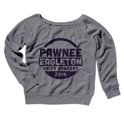 Pawnee Eagleton Unity Concert Women's Off The Shoulder Sweatshirt-Grey TriBlend - Famous IRL