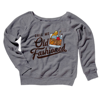 Call Me Old Fashioned Women's Off The Shoulder Sweatshirt-Grey TriBlend - Famous IRL