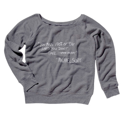 You Miss 100% of Shots Women's Off The Shoulder Sweatshirt-Grey TriBlend - Famous IRL