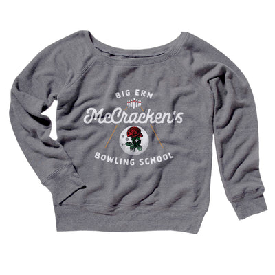 Big Ern McCracken's Bowling School Women's Off The Shoulder Sweatshirt-Grey TriBlend - Famous IRL