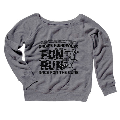 Rabies Awareness Fun Run Women's Off The Shoulder Sweatshirt-Grey TriBlend - Famous IRL